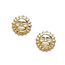 14K Solid Yellow Gold 8MM Sun Stud Earrings Push Back ER-ST15