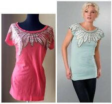 NWT Marc by Marc Jacobs Feather Print Tunic Tee T-Shirt in Coral Size: M