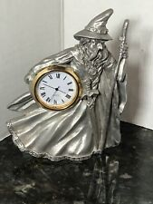 Vintage Spoontiques Pewter Wizard Clock ~ New Battery
