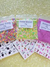 Nail Art Mixed Glitter ( Easter Set) 3 x 5g Bags 2 x Water Stickers Chunky Bunny