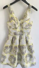 WAREHOUSE Spotlight Dress A-Line Floral Cream Yellow Prom Party Cocktail Size 8