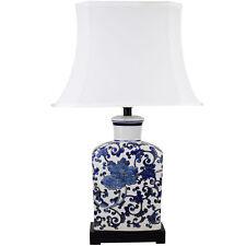 NEW White & Blue Mademoiselle Ceramic Table Lamp - Lexi Lighting,Lamps