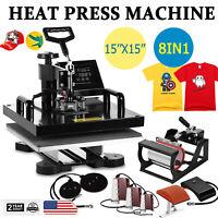 "8 in 1 Combo T-Shirt Heat Press Machine Digital Transfer Sublimation 15""x15"""