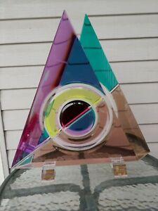 Beautiful Large Triangle Acrylic Multi-Colored Signed Sculpture by Shlomi Haziza