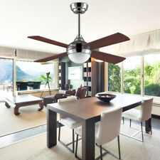 New Listing48' Ceiling Fan with Dc Motor Led Light Remote Control Modern 4 Wood Fan Blades