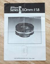 Nikon Series E 50Mm F/1.8 Lens Instr. Book/126735