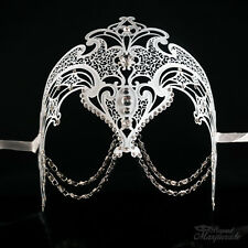 Luxury Metal Venetian Masquerade Mask for Women with Chains M7152 [White]