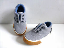 Baby Boy's Grey Canvas Deck Style Shoes- UK Infant Size 4 EU20- NEW