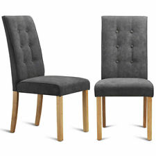 Set of 2 Dining Side Chairs Upholstered Fabric Button Tufted Wooden Legs Kitchen