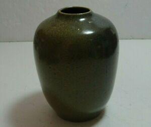 """Vintage Ben Owen Master Potter North Carolina Frog Skin Glaze 4.5"""" Vase Signed"""
