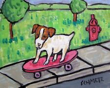 Jack Russell terrier skate boarding 11x14 art artist print animals gift
