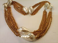 Vintage Gold  Tone   Necklace With Faux Pearls