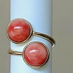 14kt Gold Ring With Two (2) 10 MM FINE Angel Coral Cabachons