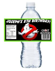 20 GHOST BUSTERS GHOSTBUSTERS BIRTHDAY PARTY FAVORS WATER BOTTLE LABELS WRAPPERS