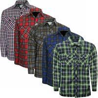 Mens Padded Quilted Fleece Lined Flannel Lumberjack Shirt Big 2XL 3XL 4XL 5XL