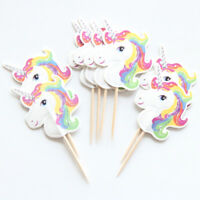 12 x Unicorn Cake Picks Cupcake Toppers Flags Happy Birthday