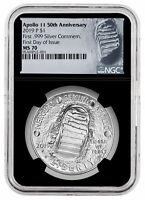 2019 P Apollo 11 50th Commem Silver Dollar NGC MS70 FDI Black Core SKU56916