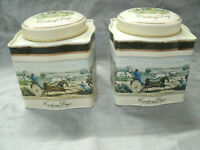 "Baret Ware 2 Tea Tins COACHING DAYS 4 1/8"" Square 4 1/2"" Tall Made in England EC"