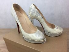 100% Auténtico Tacones Christian Louboutin Bianca 140 Watersnake bombas
