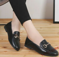 New Fashion Women Soft Round toe slip on shoes Solid Flat casual leather Loafers