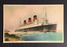 Postcard Ship, Rms Queen Mary Cunard White Star Unused Signed Royal Mail Ship.