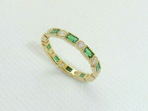 Ladies 18 Carat Gold and 925 Sterling Silver Sapphire & Emerald Eternity Ring