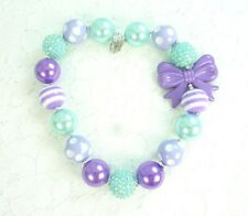 Aqua and Lavender Bow Chunky Bubblegum Necklace, Baby Girl's Necklace, USA