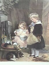 Children and Rabbits Framed print by Sir Edwin Landseer Engraved by Alfred Lucas