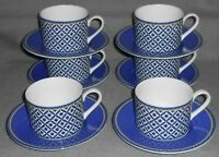 Set (6) Victoria & Beale WILLIAMSBURG PATTERN Cups and Saucers