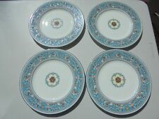 """4 Wedgwood Turquoise Florentine Dinner Plates W2714 10 3/4"""" Excellent"""