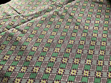 Unique Vintage Feed Sack Fabric Full Uncut Bright Green, And Yellow On White