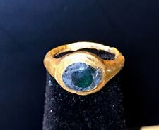 ANCIENT ROMAN GOLD RING WITH GREEN GLASS STONE; CHARMING PIECE