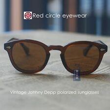 Retro Vintage polarized sunglasses Johnny Depp eyeglasses mens Brown lenses 44mm