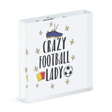 Verrückte Fußball Damen Acryl Foto Block Rahmen Lustig Fußball Sport