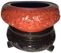 Antique Red Lacquer Chinese Carved Cinnabar Blue Enamel Over Brass Bowl w/ Stand