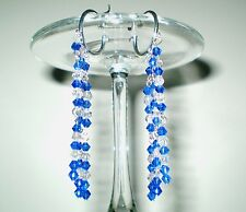 Earrings Glass Cobalt Crystals Silver Plated Hoop 3.5 in. Handmade GB USA New