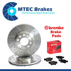 BMW E36 320i 96-98 Front Brake Discs & Brembo Pads Drilled Grooved 286mm