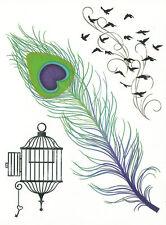 DESIGNER LARGE SHEET FEATHER, BIRDS temporary Tattoo