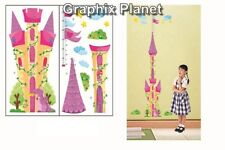 GIRL GROWTH CHART HEIGHT MEASURE BEEDROOM WALL STICKERS DECOR CASTLE FREE POST