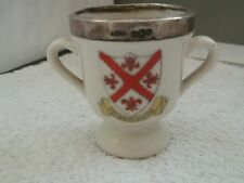 SILVER RIMMED SHAPED ? EGG CUP  CRESTED TEIGNMOUTH  NO MAKER