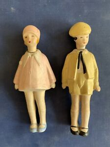 vintage 1920's Germany Nodders boy and girl children dolls