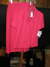 LADIES KORET DEEP ROSE COLOR SHORT SLEEVE LINED SKIRT SUIT 8P, NWT