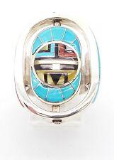 Zuni Sterling Silver Multi-Stone Inlay Rotating Sun Face Ring Size 6 - Don Dewa
