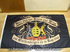 Fahnen Flagge Württemberg Hüte dich vor Sturm und Wind Digitaldruck - 90 x 150cm