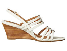 New Sofft Posh Leather Women Wedge Shoes Sz 10 wht
