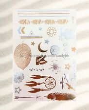 US SELLER-dreamcatcher moon leaf flash metallic tattoos gold silver party favors