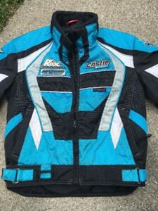GREAT Castle X Racewear jacket size YOUTH S Black Aqua White Unisex