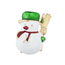 Lux Accessories Gold Tone Christmas X-Mas Holiday Snowman Brooch Pin