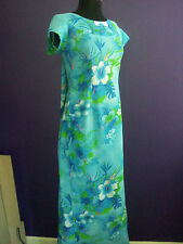 VTG S Royal Hawaiian Maxi Aloha Dress Watteau Train Blue Floral Hibiscus Wedding