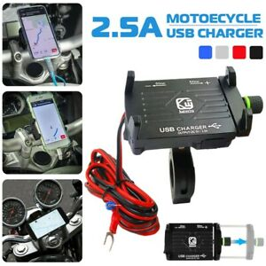 Aluminum Motorcycle Cell Phone Holder Mount Handlebar USB Charger With Switch US
